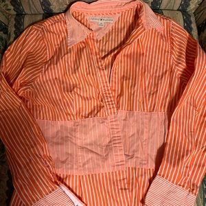 Tommy Hilfiger orange button up shirt